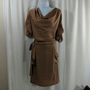 BCBG MaxAzria Draped Cowl Neck Dress Alex Bronzine